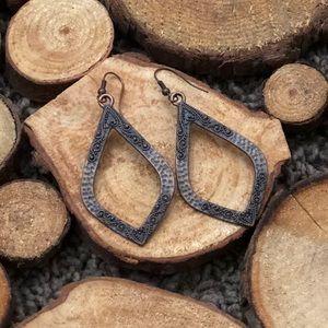 Brown metal earrings